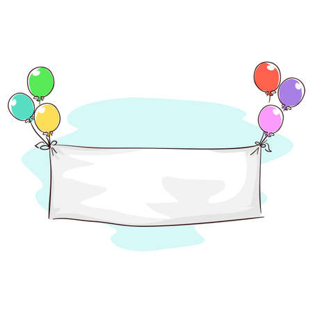 Vector Illustration of White Blank Banner cloth tied in Balloons for Birthday Message