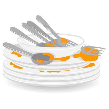 Illustration vectorielle de pile d'assiettes sales avec cuillère et fourchette Vecteurs