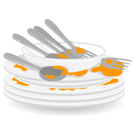 Vector Illustration of Stack of Dirty Plates with Spoon and Fork Çizim