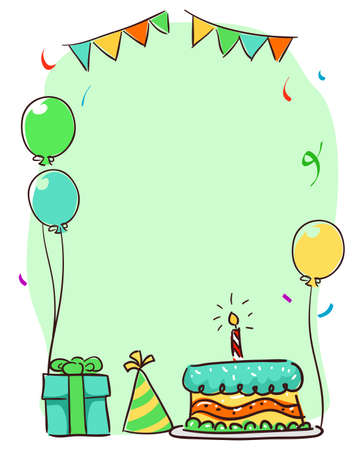 Vector Illustration of a Birthday Elements Template Frame for Birthday Card