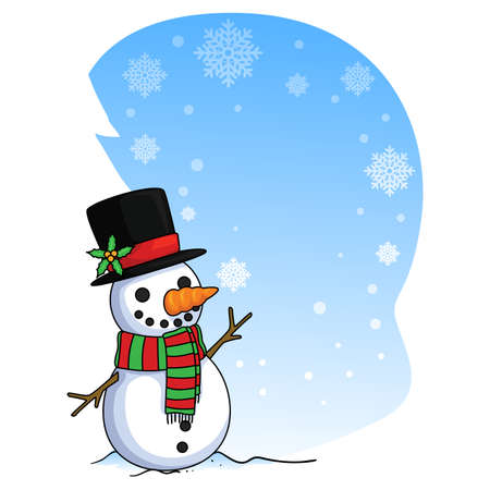 Snowman Card with Falling Snow flakes Illustration