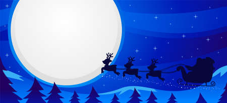 Night Scene Santa Sleigh Flying 일러스트