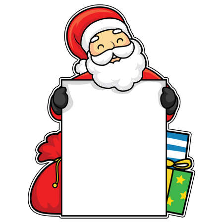 Happy Santa Claus holding a white board with gifts 일러스트