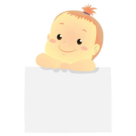 Vector Illustration of a Baby holding a blank white board paper 写真素材 - 131573021