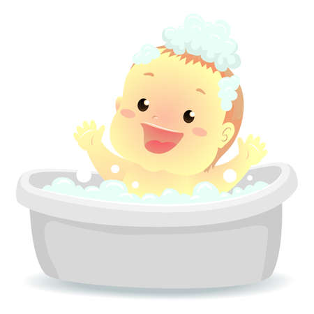 Vector Illustration of a Baby taking a bath on bath tub Ilustração