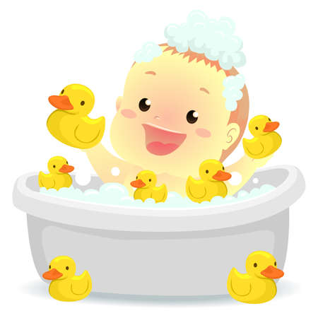 Vector Illustration of Baby taking a bath with rubber ducks