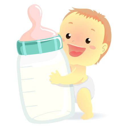 Vector Illustration of a Baby holding a Big Milk Bottle
