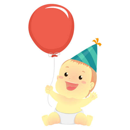 Vector Illustration of a Baby holding a Balloon and wearing birthday hat