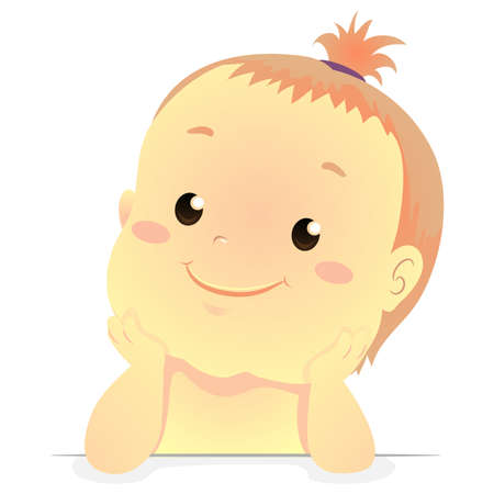 Vector Illustration of a cute baby hands on chin Illustration