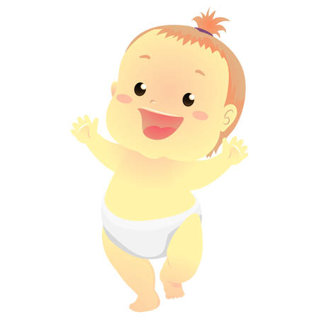 Vector Illustration of a Happy Baby learning to walk Illustration