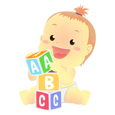 Vector Illustration of a Baby playing toy blocks