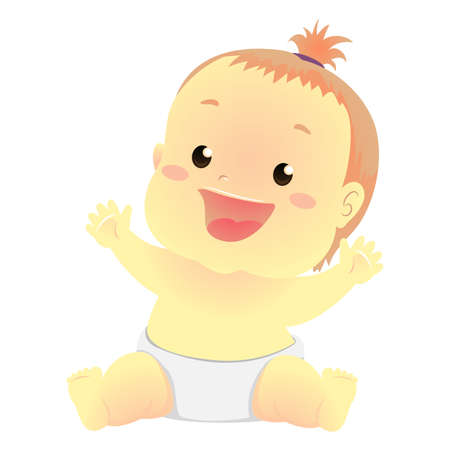 Vector Illustration of a Happy Baby in sitting position