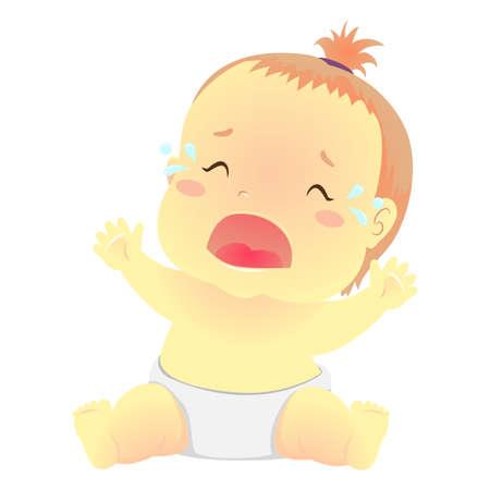 Ilustración vectorial de un bebé llorando con lágrimas