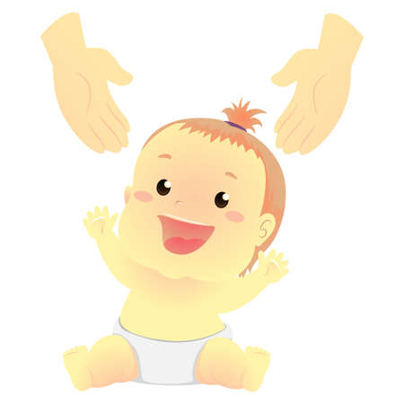 Vector Illustration of a Baby reaching a person hand Ilustração
