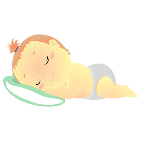 Vector Illustration of a Baby sleeping on Pillow