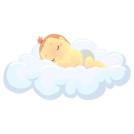 Vector Illustration of a Baby Sleeping in the Cloud 일러스트