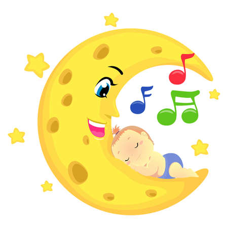 Vector Illustration of a Baby Sleeping on the moon with musical notes Ilustração