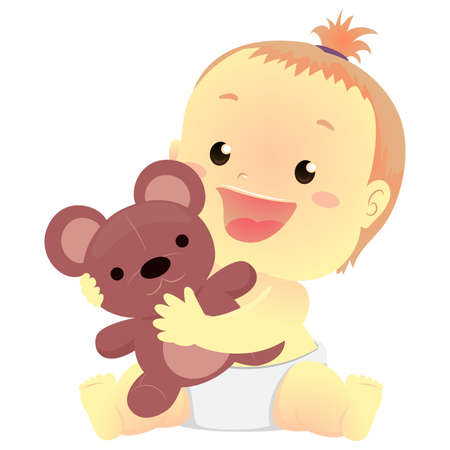 Vector Illustration of a Baby holding a teddy bear stuff toy 写真素材 - 131572998