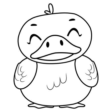 Coloring Book Page Outlined of a Happy Adorable Duck