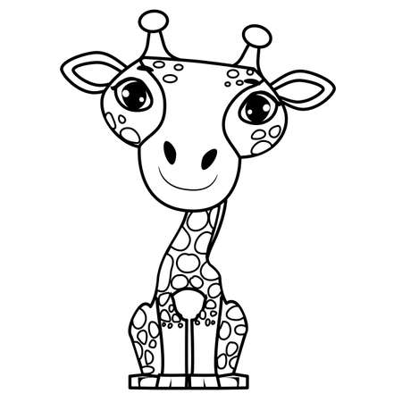 Coloring Book Page Outlined of a Cute Adorable Giraffe