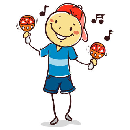 Vector Illustration of Stick Kid Boy playing Maracas 矢量图像