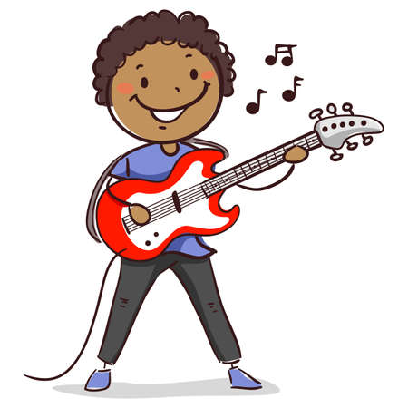 Vector Illustration of Stick Kid Figure of Black Boy playing Electric Guitar