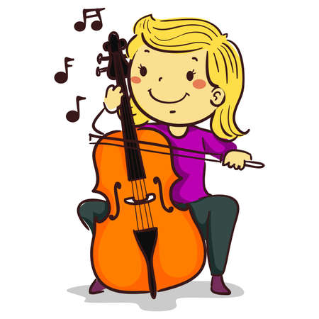Vector Illustration of Stick Kid Girl Figure playing a cello 矢量图像