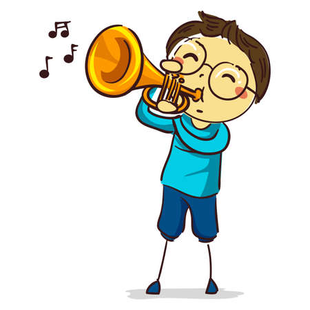 Vector Illustration of Stick Kid Figure Boy playing Trumpet