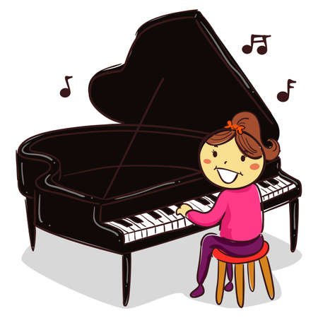 Vector Illustration of Stick Kid Figure playing the Grand Piano 矢量图像