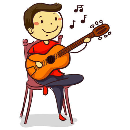 Vector Illustration of Stick Kid Boy playing Acoustic Guitar