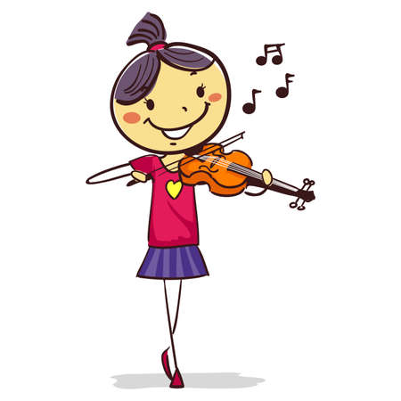 Vector Illustration of Stick Kid Girl Playing a violin