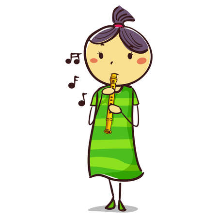 Vector Illustration of Stick Kid Girl playing a flute