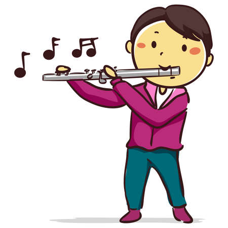 Vector Illustration of Stick Kid Boy playing Flute