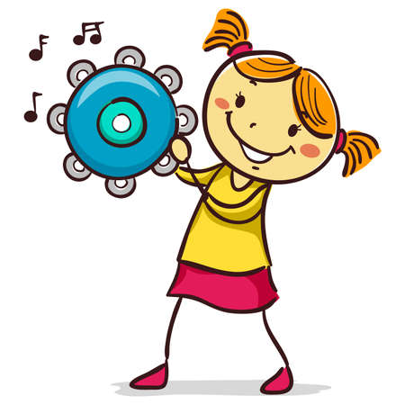 Vector Illustration of Stick Kid Figure of a Girl playing tambourine 矢量图像
