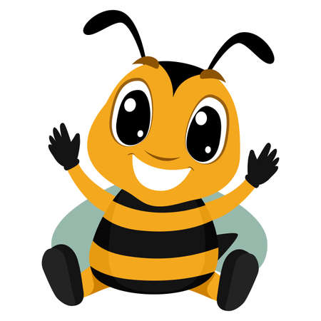 Vector Illustration of Cartoon Bee in Sitting Position waving its hands up