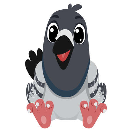 Vector Illustration of a Cute Cartoon Pigeon in Sitting position