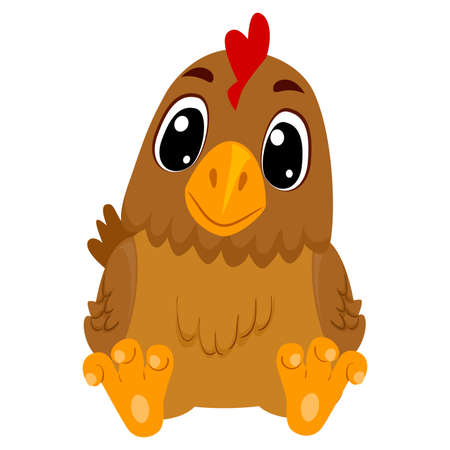 Vector Illustration of Cartoon Hen in sitting position 矢量图像