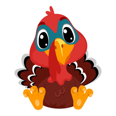 Vector Illustration of Cartoon Turkey in sitting position 矢量图像