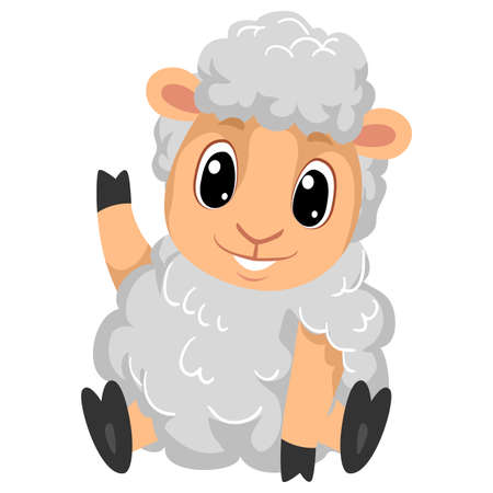 Vector Illustration of Cute Cartoon Sheep waving in sitting position waving His Right Hand 矢量图像