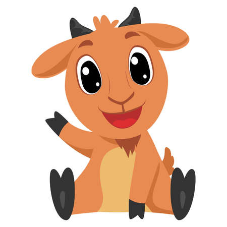 Vector Illustration of Cute Cartoon Goat in sitting Position Waving Raising his Right Arm 矢量图像