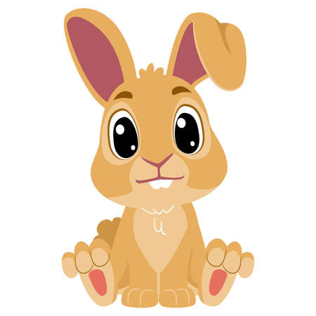 Vector Illustration of a Cute Cartoon Rabbit in Sitting Position
