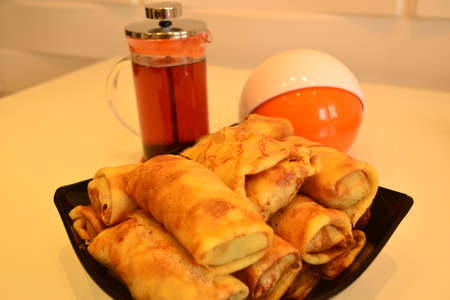 dessert plate: Dessert plate Russian pancakes with meat Stock Photo