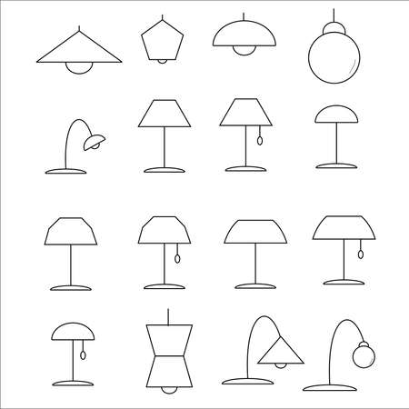 lamp vector: Icons painted lamp vector Illustration