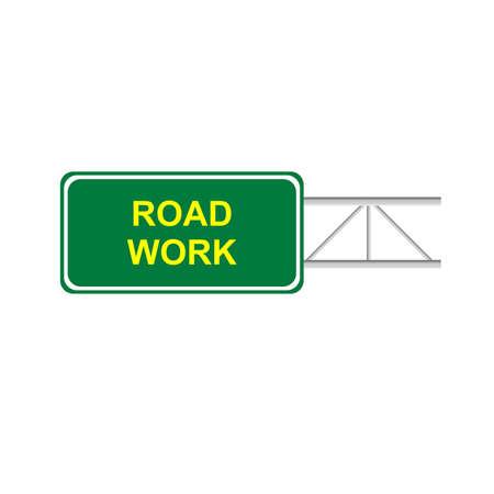 road work: Green sign road work Illustration