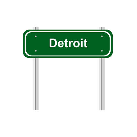 traffic pole: Green sign road Detroit Illustration
