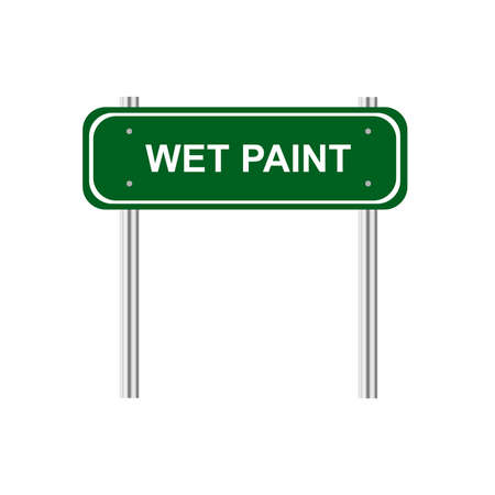 green road: Green road sign Wet paint