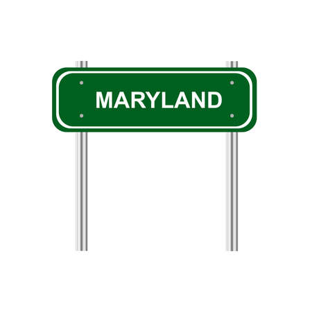 green road: Green road sign US state Maryland Illustration