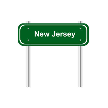 notice: Green road sign US state New Jersey Illustration