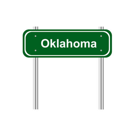 green road: Green road sign US state Oklahoma Illustration