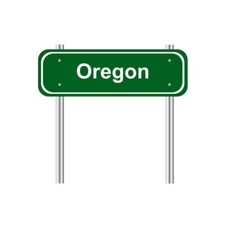 state of oregon: Green road sign US state Oregon Illustration